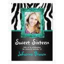 teal zebra - photo - sweet 16 invitations