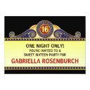 theatre marquee sweet 16 birthday invitation