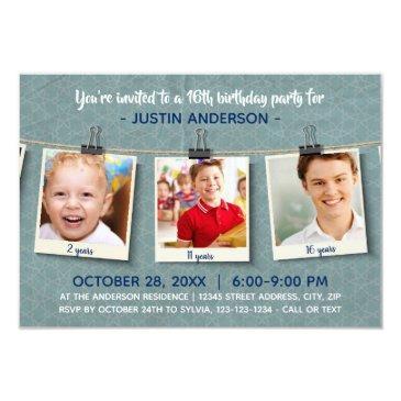 three photos on twine-3x5birthday party invitations