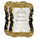 tiara princess sweet 16 gold black white invite