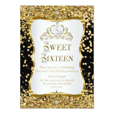 Small Tiara Princess Sweet 16 Gold Black White Invite Front View