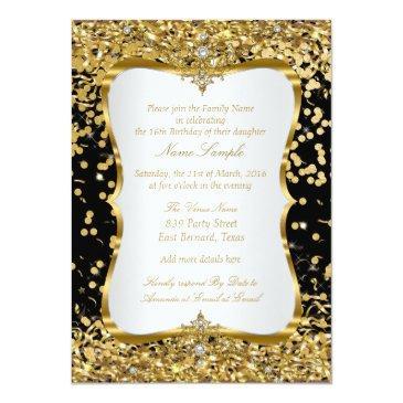 Small Tiara Princess Sweet 16 Gold Black White Invite Back View