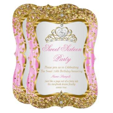tiara princess sweet 16 pink gold white invite