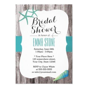 tiffany blue seashells beach theme bridal shower invitations