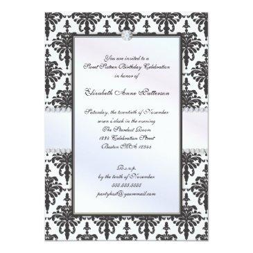 Small Timeless Black & White Damask Sweet 16 Party Invitation Front View