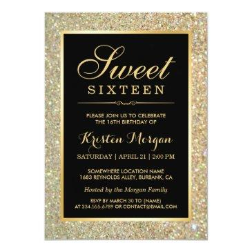 Small Trendy Gold Glitter Sparkles Sweet Sixteen Party Front View