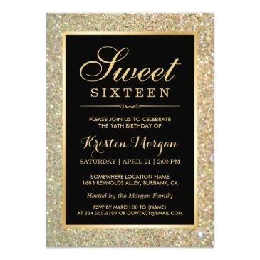 trendy gold glitter sparkles sweet sixteen party invitations