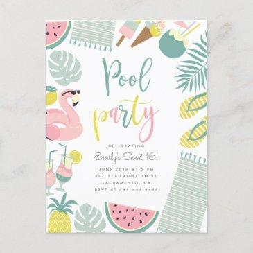 trendy summer pool party script sweet 16 birthday invitation postinvitations