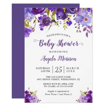 trendy ultra violet purple floral baby shower invitation