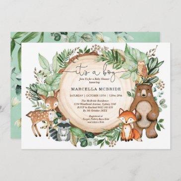 trendy woodland greenery animals boy baby shower invitation
