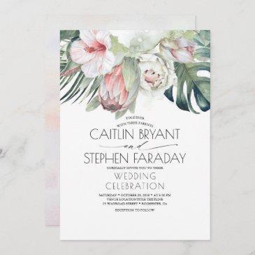 tropical beach floral greenery foliage wedding invitation