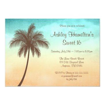 tropical beach palm tree sweet 16 invitations