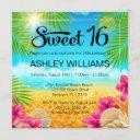 tropical beach pink hibiscus sweet 16 birthday invitation