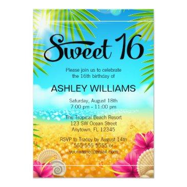 tropical beach pink hibiscus sweet 16 birthday