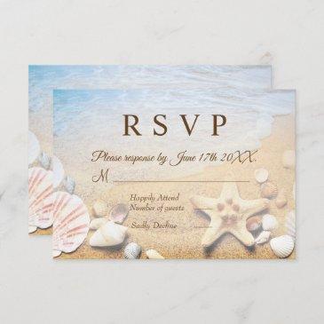 tropical beach wedding starfish shells rsvp invitations