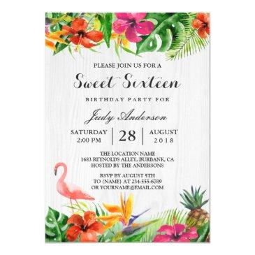 tropical floral flamingo luau | sweet 16 birthday invitation