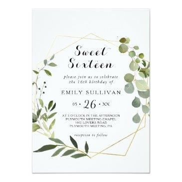 Small Tropical Green Leaves Sweet Sixteen Birthday Party Invitation Front View