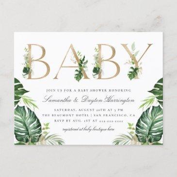 tropical greenery gold typography baby shower invitation postinvitations