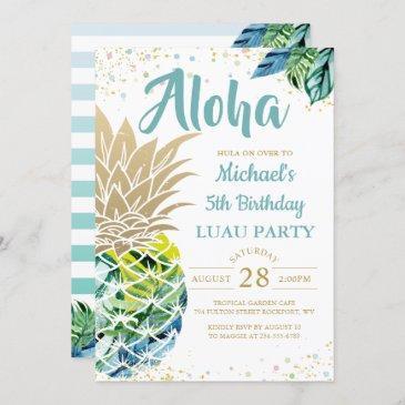 tropical luau pineapple beach birthday invitation