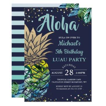 tropical luau pineapple beach navy blue birthday invitation