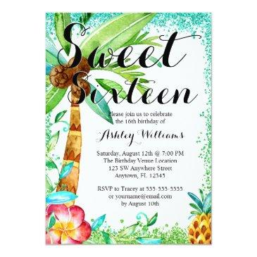 Small Tropical Luau Watercolor Faux Glitter Sweet 16 Invitations Front View
