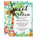 tropical luau watercolor faux glitter sweet 16 invitation