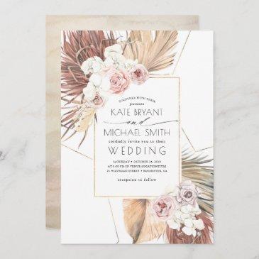 tropical palms foliage seaside desert wedding invitation