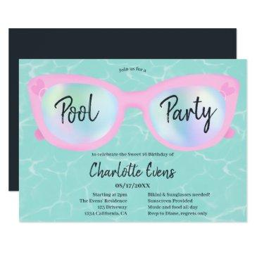 tropical pool party holographic glasses sweet 16 invitation