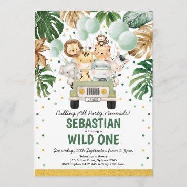 tropical safari wild one jungle animals birthday invitation