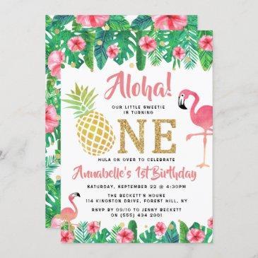 tropical summer beach luau girls 1st birthday invitation