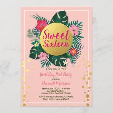 tropical sweet sixteen 16 pool party pink and gold invitation