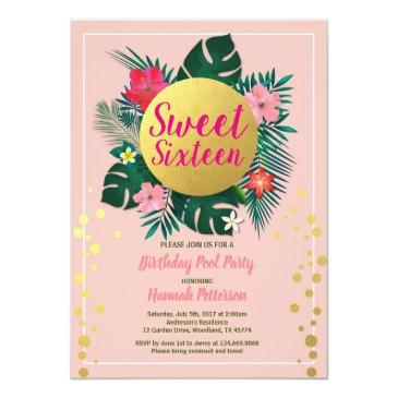 Small Tropical Sweet Sixteen 16 Pool Party Pink And Gold Invitation Front View