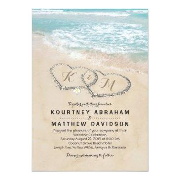 Small Tropical Vintage Beach Heart Shore Wedding Invitations Front View