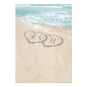 Small Tropical Vintage Beach Heart Shore Wedding Invitations Back View