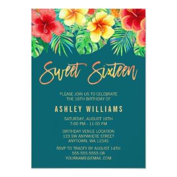 Small Tropical Watercolor Flowers Sweet 16 Birthday Invitation Front View