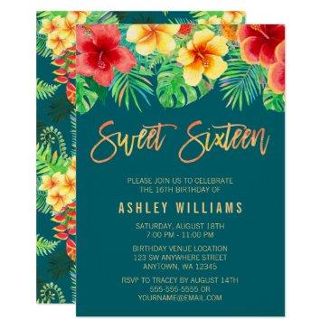 tropical watercolor flowers sweet 16 birthday invitation