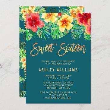 tropical watercolor flowers sweet 16 birthday invitation