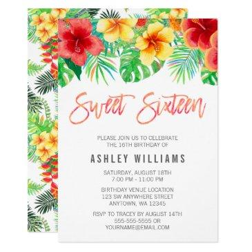 tropical watercolor flowers sweet 16 invitation