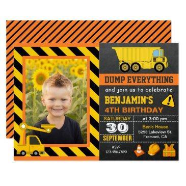 truck construction birthday party photo invitations