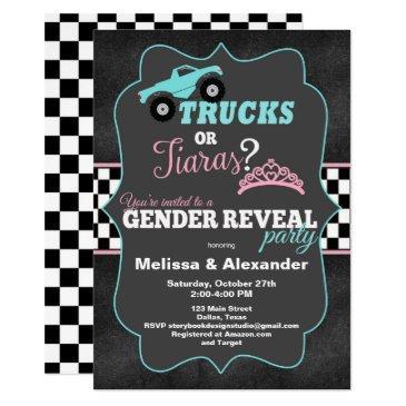 trucks or tiaras gender reveal invitations