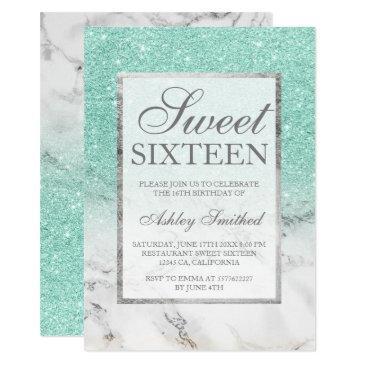 turquoise glitter marble elegant chic sweet 16 invitation