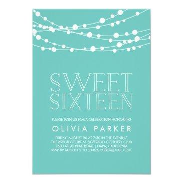 Small Turquoise String Lights Sweet Sixteen Invitation Front View