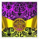 twin dragons gold purple black damask monogram invitation