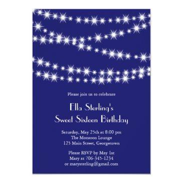 Small Twinkle Lights Birthday Invitation (indigo) Front View