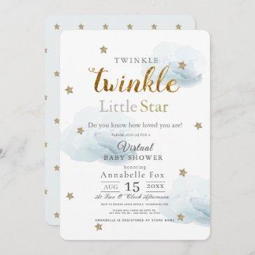 twinkle little star cloud blue virtual baby shower invitation