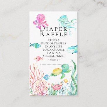 under the sea baby shower diaper raffle ticket enclosure invitations