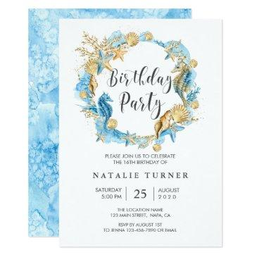 under the sea blue gold birthday party invitation