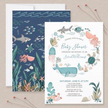 under the sea ocean animals baby shower script invitation