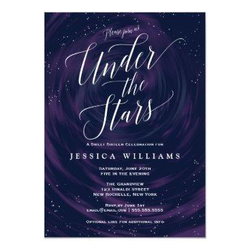 Small Under The Stars Elegant Sweet 16 Celebration Invitations Front View