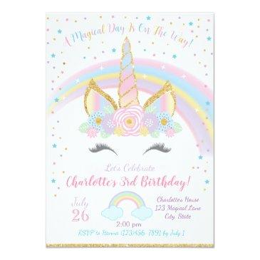 Small Unicorn Birthday , Unicorn Party Invite Front View